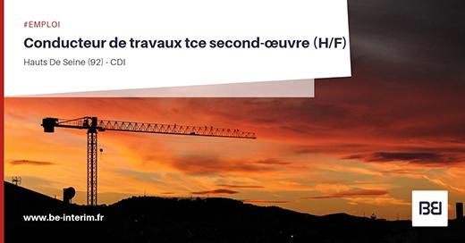 Conducteur de Travaux TCE second oeuvre
