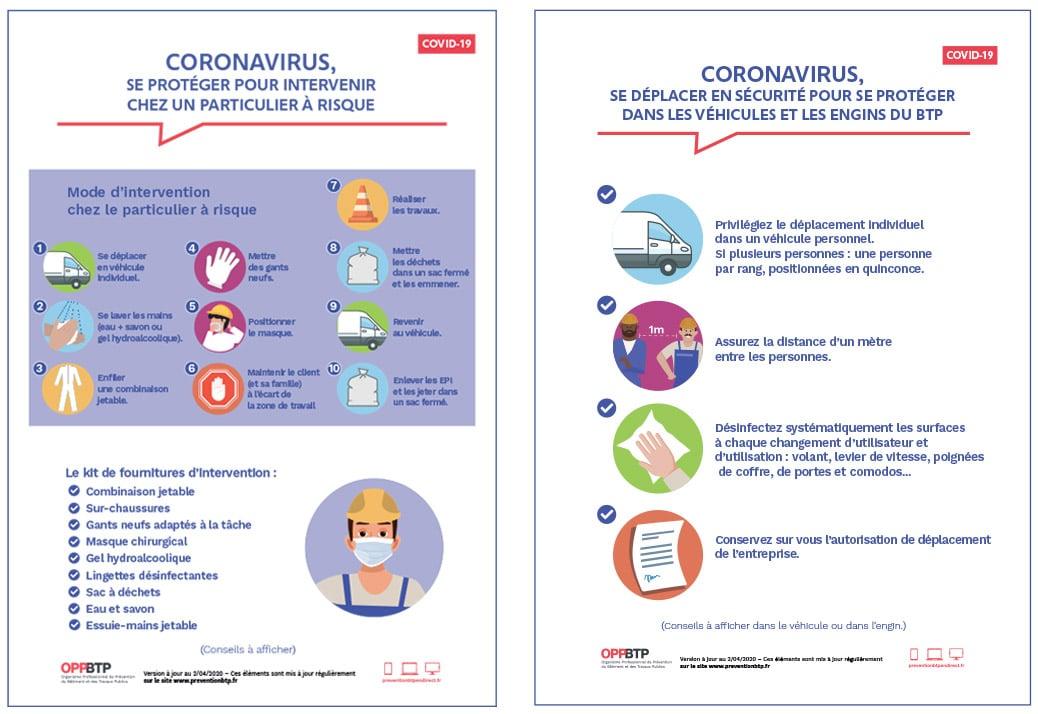 OPPBTP guide de préconisation sanitaires