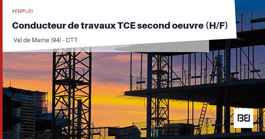 Conducteur de travaux TCE second oeuvre