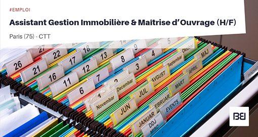 ASSISTANT GESTION IMMOBILIÈRE ET MAÎTRISE D'OUVRAGE
