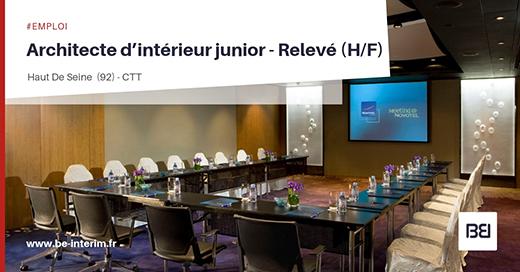 Offre d 39 emploi architecte interieur junior relev h f bureau d 39 tude interim - Offre d emploi bureau d etude ...